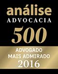 Selo Análise Advocacia 500 - Pedro Sergio Fialdini Filho - Advogado Mais Admirado 2016
